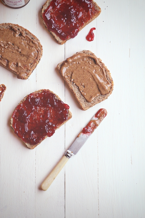 Nut butter and jam sandwich slices